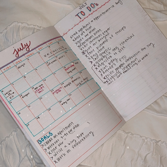 July Monthly Calendar + To do's